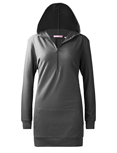 Regna X Womens Long Sleeve Funnel Neck Front Zip Sweatshirt Dark Grey -