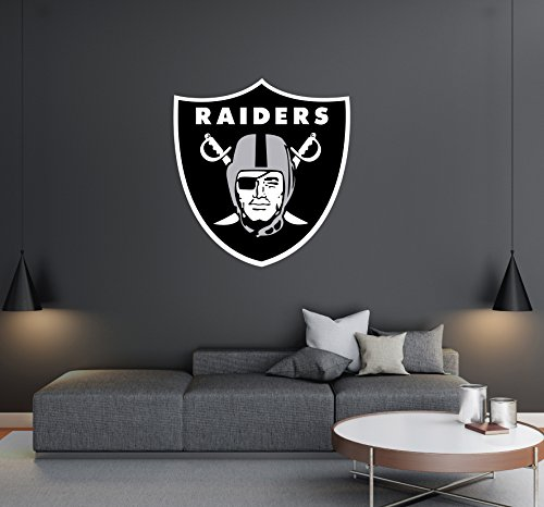 Oakland Raiders - Football Team Logo - Wall Decal Removable & Reusable For Home Bedroom (Wide 20