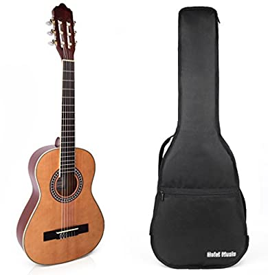 Classical Guitar with Soft Nylon Strings by Hola! Music, Half 1/2 Size 34 Inch for Junior Kids (Model HG-34GLS), Natural Gloss Finish - FREE Padded Gig Bag Included