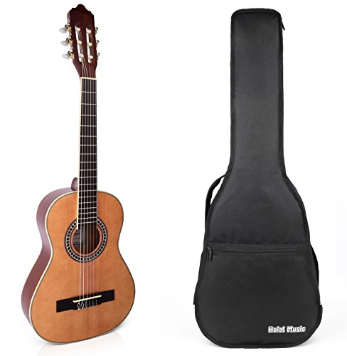 Guitar Model Classical Student (Classical Guitar with Soft Nylon Strings by Hola! Music, Half 1/2 Size 34 Inch for Junior Kids (Model HG-34GLS), Natural Gloss Finish - FREE Padded Gig Bag Included)