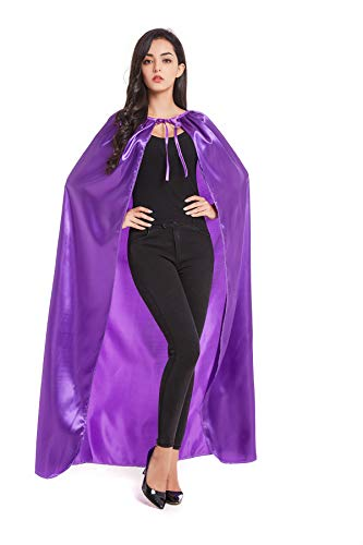 Crizcape Costumes Cape Full Length Adult Halloween Cape Cloak Knight Witches Vampires Royalty Fancy Cosplay Costume(L,Purple) -