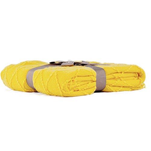 - Battilo Knit Diamond Pattern Decorative Sofa Bed Couch Throw Blanket (Yellow, 52