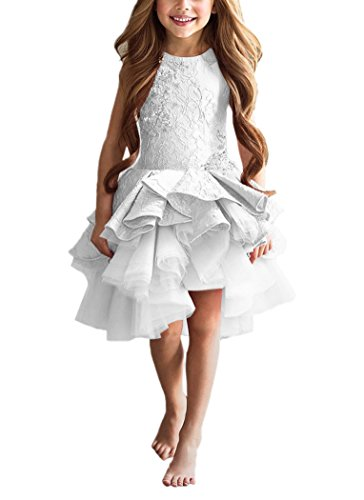 PLwedding Lovely Vintage Lace Applique Short Dream Flower Girls Dresses (Size 8, White) (White Dress Flower 8 Girl Size)