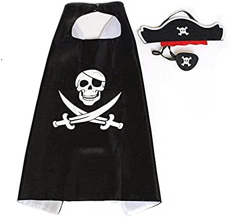 Comics Cartoon Pirate Dress Up Satin Cape Cosplay Birthday Party Kids Costume