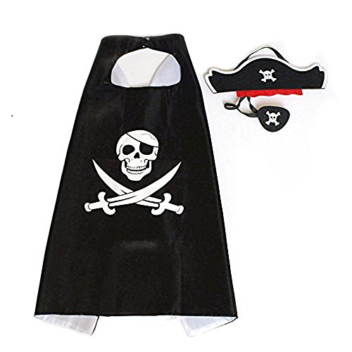 RioRand Cartoon Pirate Dress Up Satin Cape Cosplay Birthday Party Kids Costume (1pcs Cape) Black]()