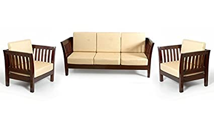 Sheesham Wood Sofa Set With Cushion, Without Cushions Covers (3+1+1