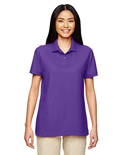 Gildan Women's Double-Needle Pique Polo Shirt, Purple, Large