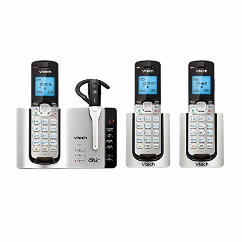 VTech DECT 6.0 Expandable Cordless Phone with Bluetooth Connect to Cell and Answering System, Silver/Black with 3 Handsets and 1 Cordless Headset by VTech