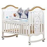 Crib Baby Cot Solid Wood Multifunction Cradle Bed European Children's Bed (Color : White, Size : 1227198cm)