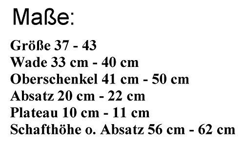 piattaforma coscia 37 a Erogance 20 Stivaletti nero nero taglia cm laccato A4777 44 tacco europea estrema 5EO1pq