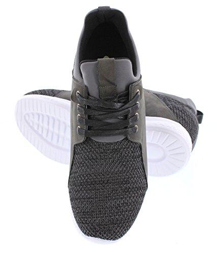 Calto H71923-3.2 Inches Högre - Höjd Ökar Hiss Skor - Cement Kol Mode Sneakers