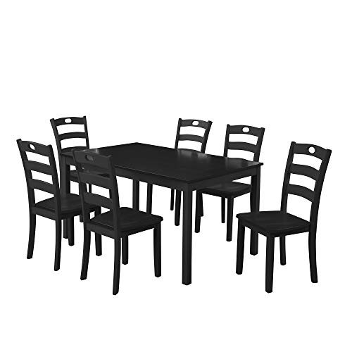 Harper Bright Designs 7 Pieces Dining Table Set for 6 Person Kitchen Wood Table and Chairs, Black