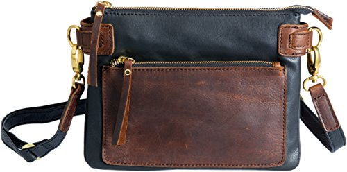 Distressed Lillian Two Crossbody Tone Leather Clutch Black qg8zUPgn