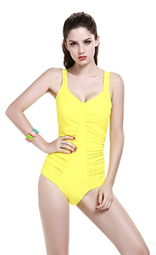 8d60ccb56d4 SAYM Women's Plus-size Elegant Inspired Retro Vintage One Piece Pin Up Monokinis  Swimsuit Bikini Yellow XXL