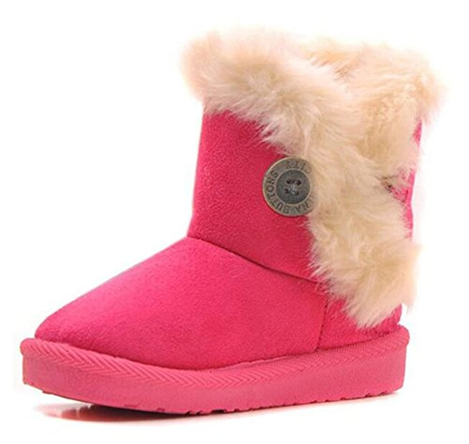 Arrowhunt Girls Boys Warm Winter Flat Shoes Button Snow Boot Pink