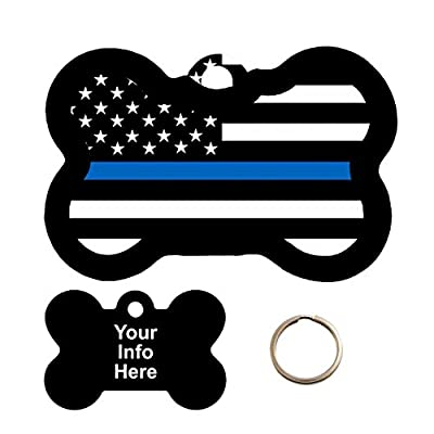 Customized Blue Line Flag Pet Tag - Bone Shape Dog Tag