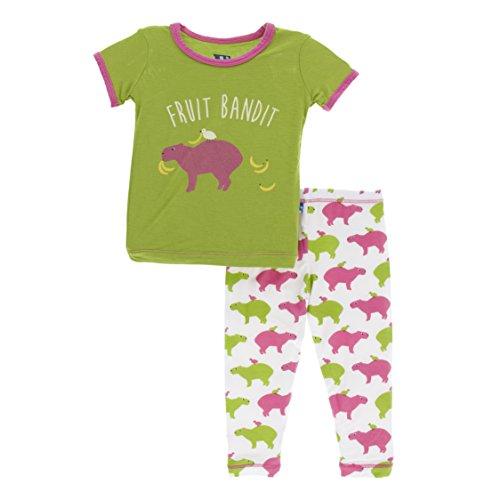 Kickee Pants Little Girls Print Short Sleeve Pajama Set, Natural Capybara, Girls 7 Years