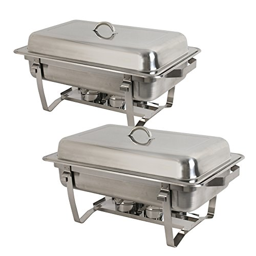 Rectangular Stainless Steel Chafer Dish Set 2 Pack of 8 Quart Chafing Dish Full Size Steel Frame