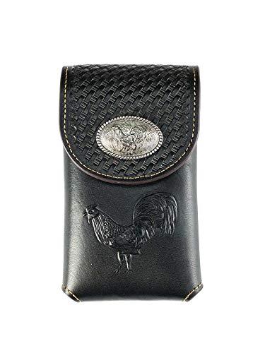 Western Tooled Basketweave genuine Leather rooter Belt Loop Cellphone Holster Case (black)