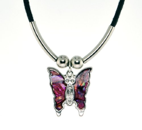 (Paua Shell Pink Butterfly Pendant Black Cord Necklace)