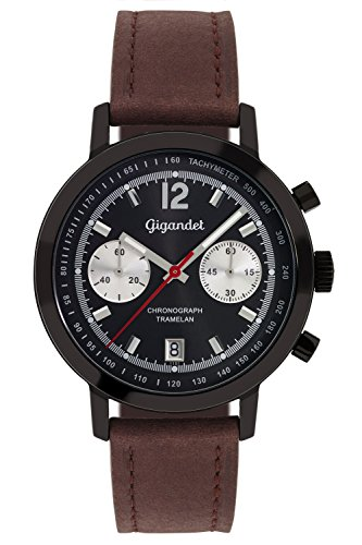 Gigandet Men's Quartz Watch Tramelan Chronograph Vintage Design Analog Leather Strap Brown Black G10-003