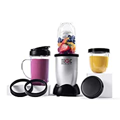 Personal versatile countertop magician that works like magic. Easy Chop, mix, blend. Cups & lids top shelf dishwasher safe. There are 3 cups: 1. Tall cup – 18oz 2. Party Mug – 18oz 3. Short Cup – 12oz