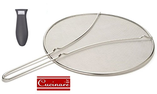 """Cucinare 13"""" Premium Splatter Screen Guard with Double Thick Mesh for Covering Pots and Pans while Cooking, Stainless Steel with Finest Woven Mesh and Resting Feet Plus Silicone Holder for Frying Pans"""