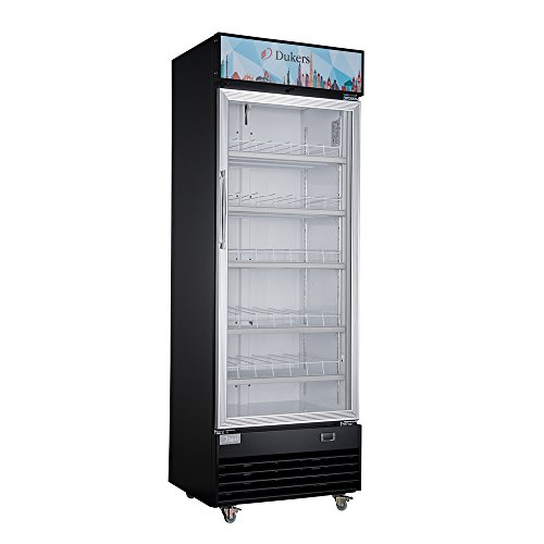 - Dukers LG-430 14.7 cu. ft. Commercial Single Swing Door Glass Merchandiser Refrigerator