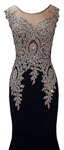 Sleeveless Women`s Dresses Black Lace store Rongstore Beaded Rong Mermaid Evening HqP4BtFwx
