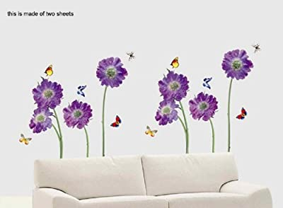 O'plaza ® Purple Violet Flowers with Butterflies Nature Scenery Wall Sticker/decals/decor Wallpaper wall art Mural Art Decor