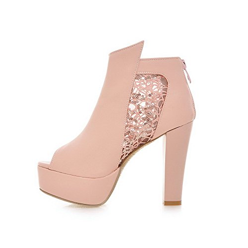 Amoonyfashion Delle Donne Peep Toe Cerniera Pu Solido Sandali Con Tacco Alto In Metallo Rosa