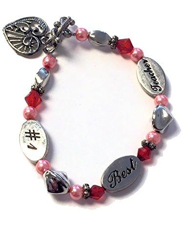 Charm Bracelet Poem Gift Box - #1 - Best - Teacher Charms Bracelet Pink & Silvertone Beads with Teacher Poem & Satin Lined Gift Box