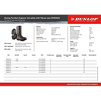 Dunlop E90203311 Explorer Thermo Full Safety Boots with Slip-Resistant Vibram Rubber Sole and Steel Toe, 100% Waterproof Purofort Material, Lightweight and Durable Protective Footwear, Size 11: Industrial & Scientific