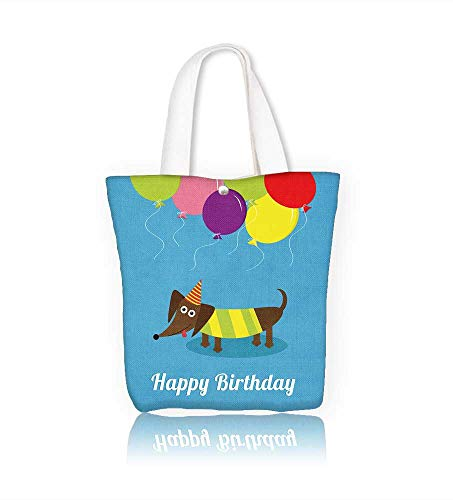 Brighton Leather Purse - Women's Canvas Tote Handbags Dachshund dog with tongue Cute Coon character Balloons and hat Happy Birthdaygreeting card Casual Top Handle Bag Crossbody Shoulder Bag Purse W22xH15.7xD7 INCH