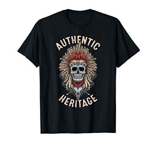 Authentic Heritage Native American Skull with Gold Feathers