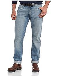 George UK Men's Belted Light Wash Bootcut Blue Jeans