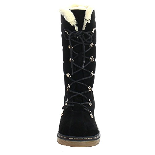 Suede Boots Faux Up Calf Black Womens Heeled Lace Chunky Alyson Link Mid 47 wUPIIg
