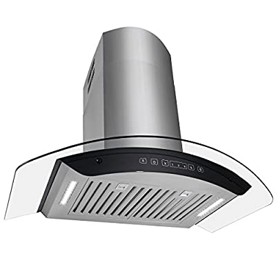 """Golden Vantage 36"""" Wall Mount Stainless Steel Tempered Glass Kitchen Cooking Fan Vent Range Hood w/ LED Display Touch Control Panel"""