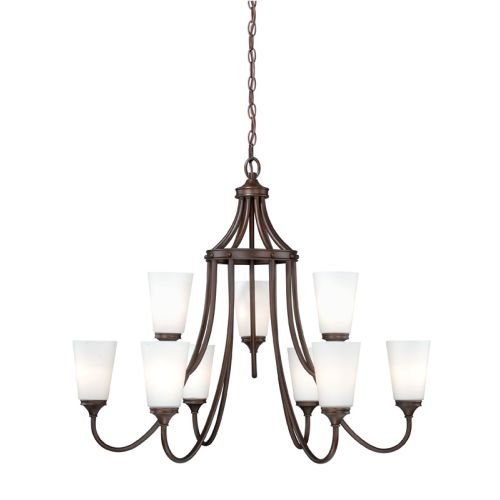 Vaxcel H0055 Lorimer 9 Light Chandelier, Venetian Bronze Finish (Light Nine Bronze Venetian)