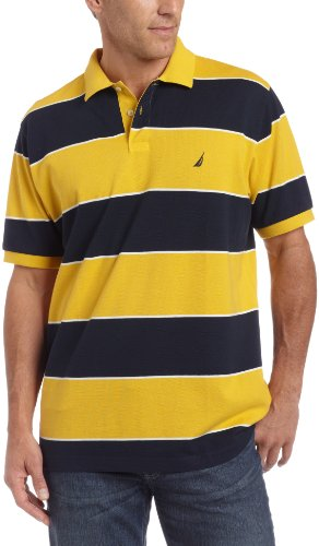 Nautica Mens Anthony Stripe Polo, Gold, XX-Large