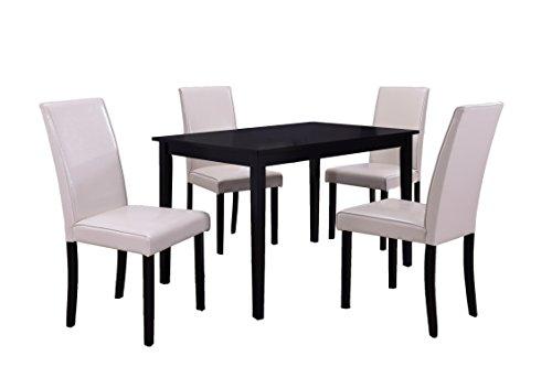 Best Master Furniture WA1200 Melissa Transitional 5 Pcs Dining Set, Cream Chairs, Black