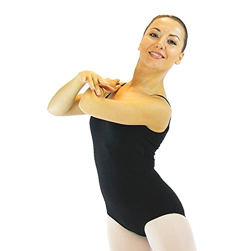 Danzcue Adult Ballet Cotton Camisole Leotard Large Black