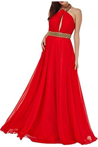 ivyd ressing Mujer a de línea Neck Holder con piedras gasa vestido de fiesta Prom vestido para vestido de noche Rojo