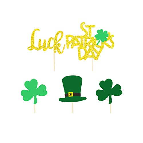 Amosfun 20pcs St Patricks Day Lucky Cake Cupcake Toppers Leprechaun Hat Shamrock Four Leaf Clover Cake Picks Cake Decoration for Irish Party St Patricks Day Party Supplies