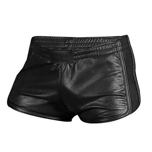 Olly And Ally Mens Sexy Real Black Soft Sheep Lamb Leather Gym Boxer Sports Shorts (Leather Shorts Men)