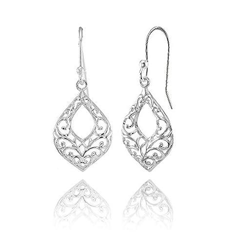 Sterling Silver Open Teardrop Filigree Dangle Earrings - Open Loop Earrings