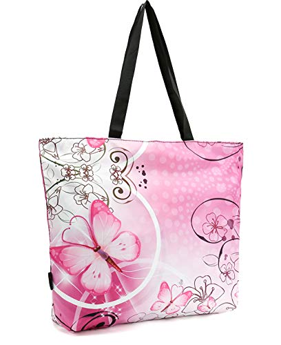 ICOLOR Pink Butterfly Gym Bag Tote Bags Shoulder Bag Beach Bag with Zipper for Men Women,Reusable Gym Picnic Travel Beach Shopping Work Daily Use Shoppers Tote(GymBag-12)