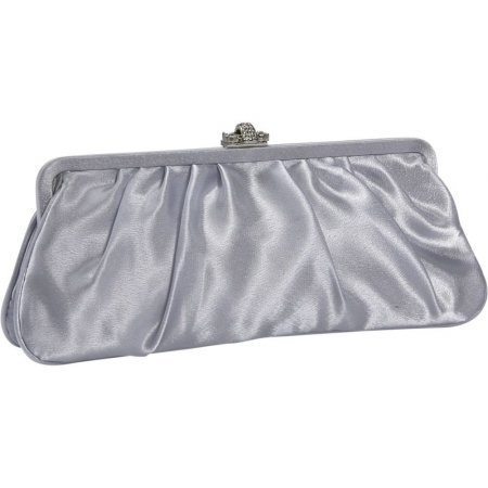 J. Furmani Large Satin Clutch – Silver, Bags Central