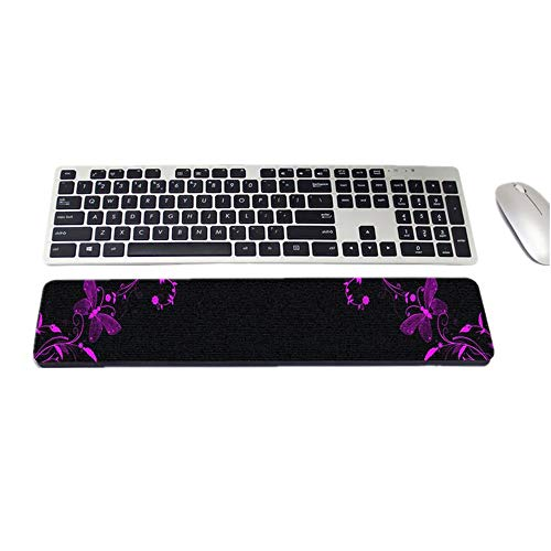 RICHEN Keyboard Wrist Rest Support for Office/Computer/Laptop&Mac Comfortable&Lightweight for Easy Typing & Pain Relief 16.5x3.54 inches/0.6 inches Thick (Purple Butterfly)