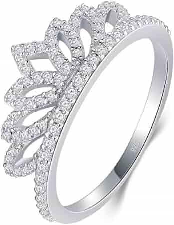 b5318a1785 BORUO 925 Sterling Silver Cubic Zirconia Princess Crown Tiara Wedding Cz  Band Eternity Ring 4-